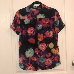 Neon Flower Button-up Blouse